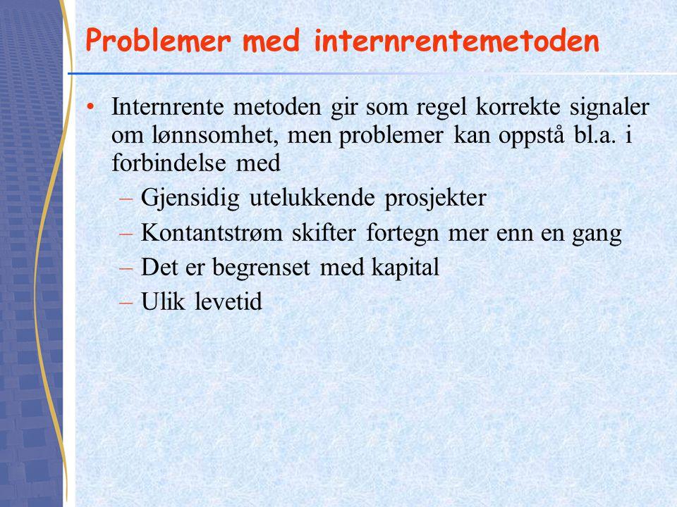 Problemer med internrentemetoden Internrente metoden gir som regel korrekte signaler om lønnsomhet, men problemer kan oppstå bl.a. i forbindelse med –