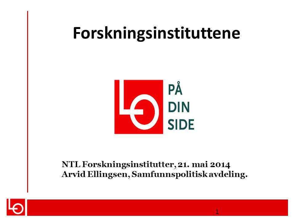 Forskningsinstituttene NTL Forskningsinstitutter, 21. mai 2014 Arvid Ellingsen, Samfunnspolitisk avdeling. 1