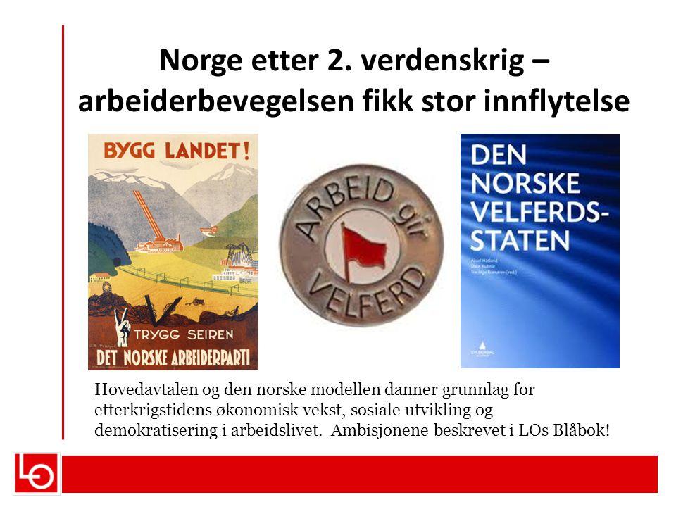 Norge etter 2. verdenskrig – arbeiderbevegelsen fikk stor innflytelse Hovedavtalen og den norske modellen danner grunnlag for etterkrigstidens økonomi