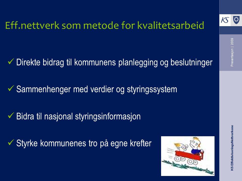 KS EffektiviseringsNettverkene Presentasjon | 2009 Eff.nettverk som metode for kvalitetsarbeid Direkte bidrag til kommunens planlegging og beslutninge