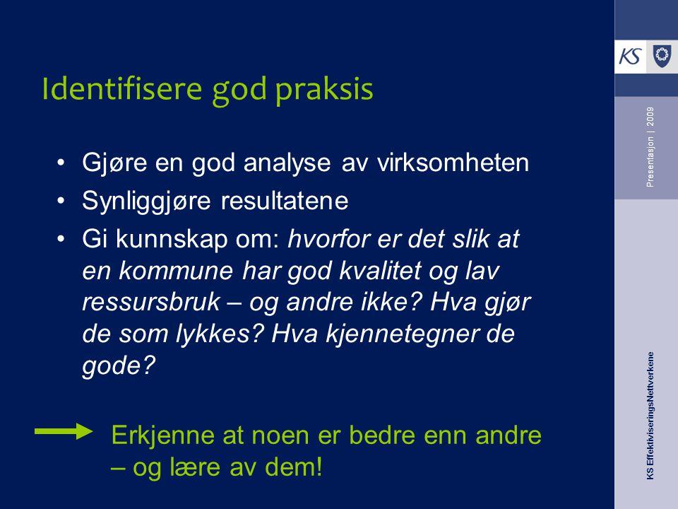 KS EffektiviseringsNettverkene Presentasjon   2009 Identifisere god praksis Gjøre en god analyse av virksomheten Synliggjøre resultatene Gi kunnskap o