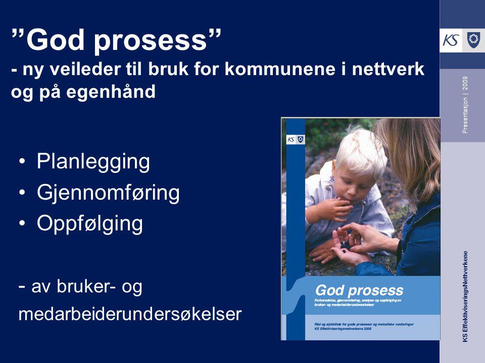 """KS EffektiviseringsNettverkene Presentasjon   2009 """"God prosess"""" - ny veileder til bruk for kommunene i nettverk og på egenhånd Planlegging Gjennomfør"""