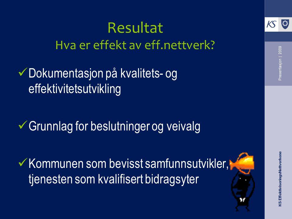 KS EffektiviseringsNettverkene Presentasjon   2009 Resultat Hva er effekt av eff.nettverk? Dokumentasjon på kvalitets- og effektivitetsutvikling Grunn