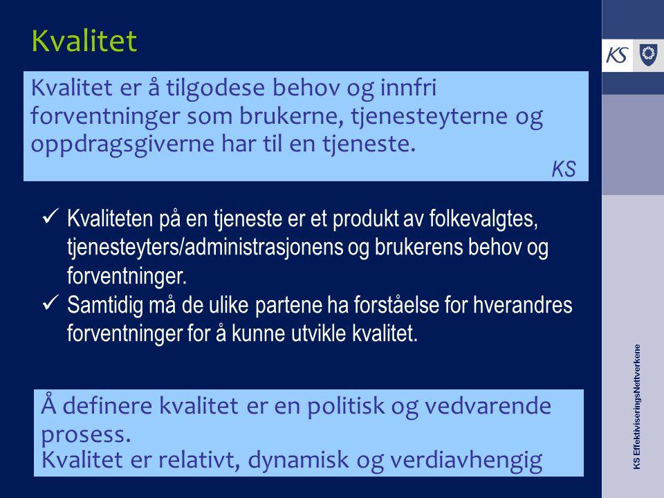 KS EffektiviseringsNettverkene Kvalitet Å definere kvalitet er en politisk og vedvarende prosess. Kvalitet er relativt, dynamisk og verdiavhengig Kval