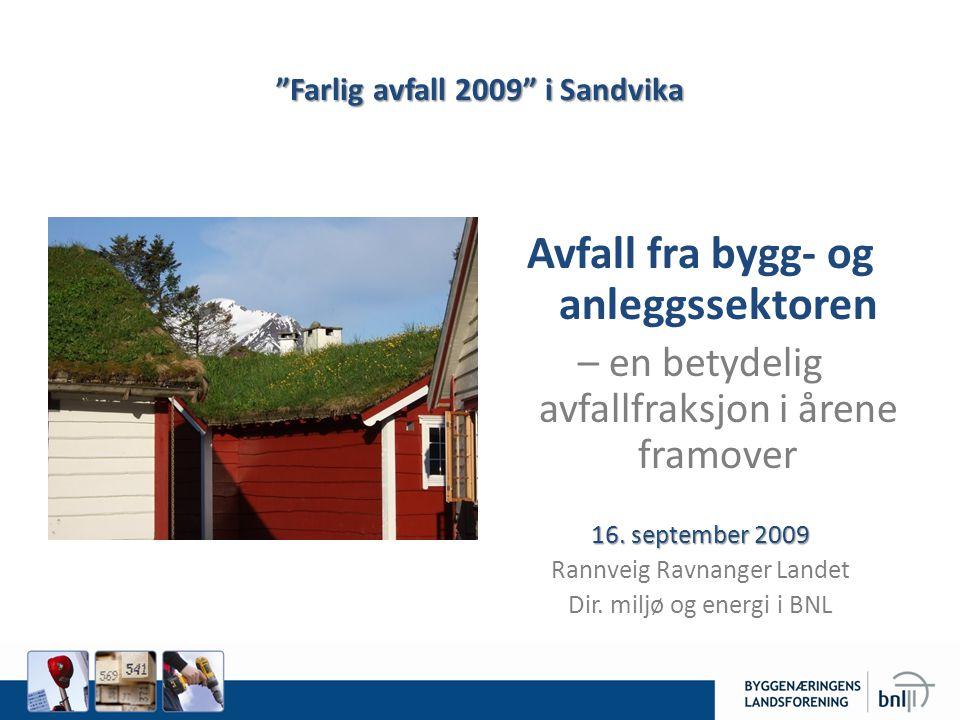 Farlig avfall 2009 i Sandvika Avfall fra bygg- og anleggssektoren – en betydelig avfallfraksjon i årene framover 16.
