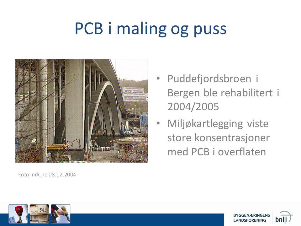 PCB i maling og puss Fo Puddefjordsbroen i Bergen ble rehabilitert i 2004/2005 Miljøkartlegging viste store konsentrasjoner med PCB i overflaten Foto: nrk.no 08.12.2004