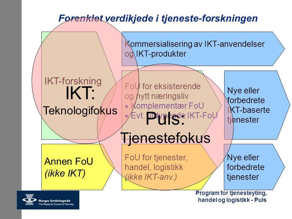 Program for tjenesteyting, handel og logistikk - Puls Forenklet verdikjede i tjeneste-forskningen IKT-forskning Kommersialisering av IKT-anvendelser o