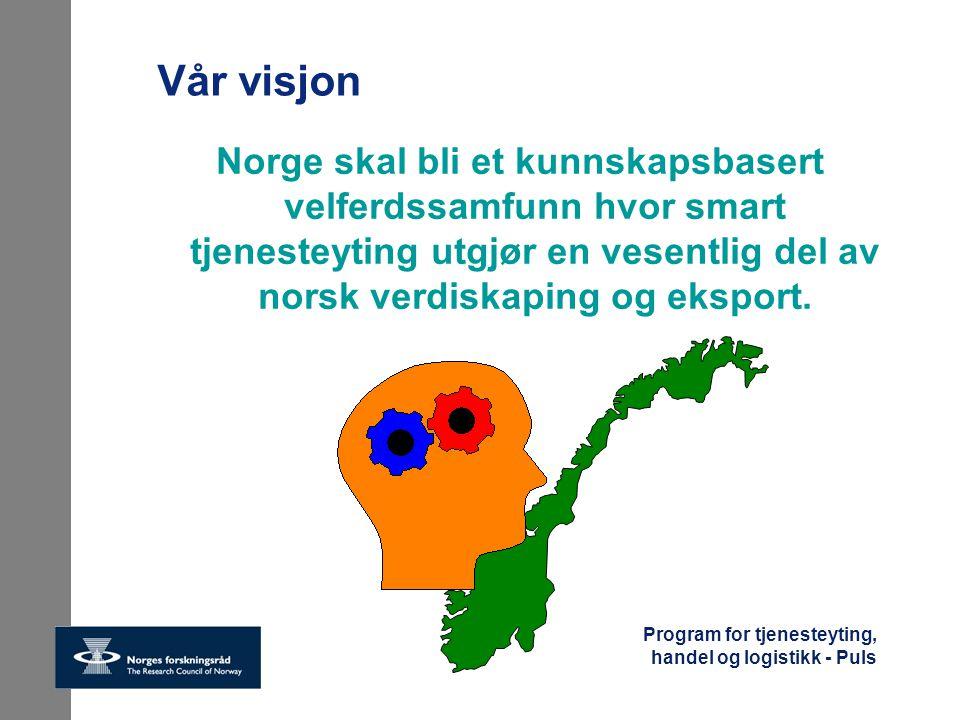 Program for tjenesteyting, handel og logistikk - Puls Vår visjon Norge skal bli et kunnskapsbasert velferdssamfunn hvor smart tjenesteyting utgjør en