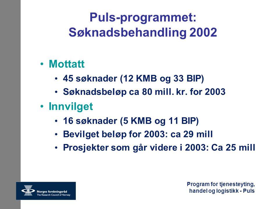 Program for tjenesteyting, handel og logistikk - Puls Puls-programmet: Søknadsbehandling 2002 Mottatt 45 søknader (12 KMB og 33 BIP) Søknadsbeløp ca 8