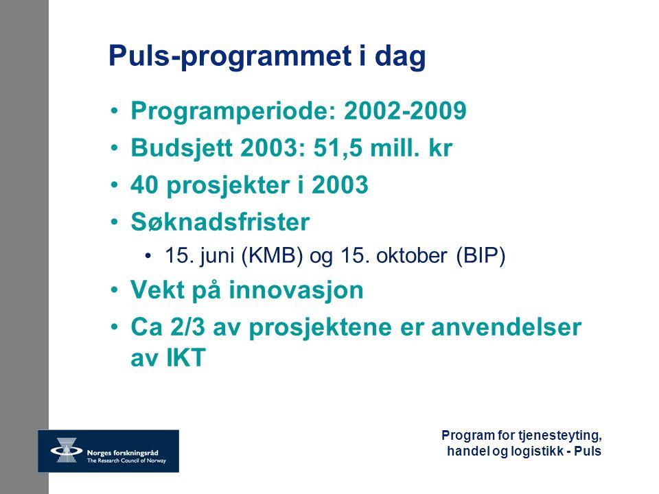Program for tjenesteyting, handel og logistikk - Puls Puls-programmet i dag Programperiode: 2002-2009 Budsjett 2003: 51,5 mill. kr 40 prosjekter i 200