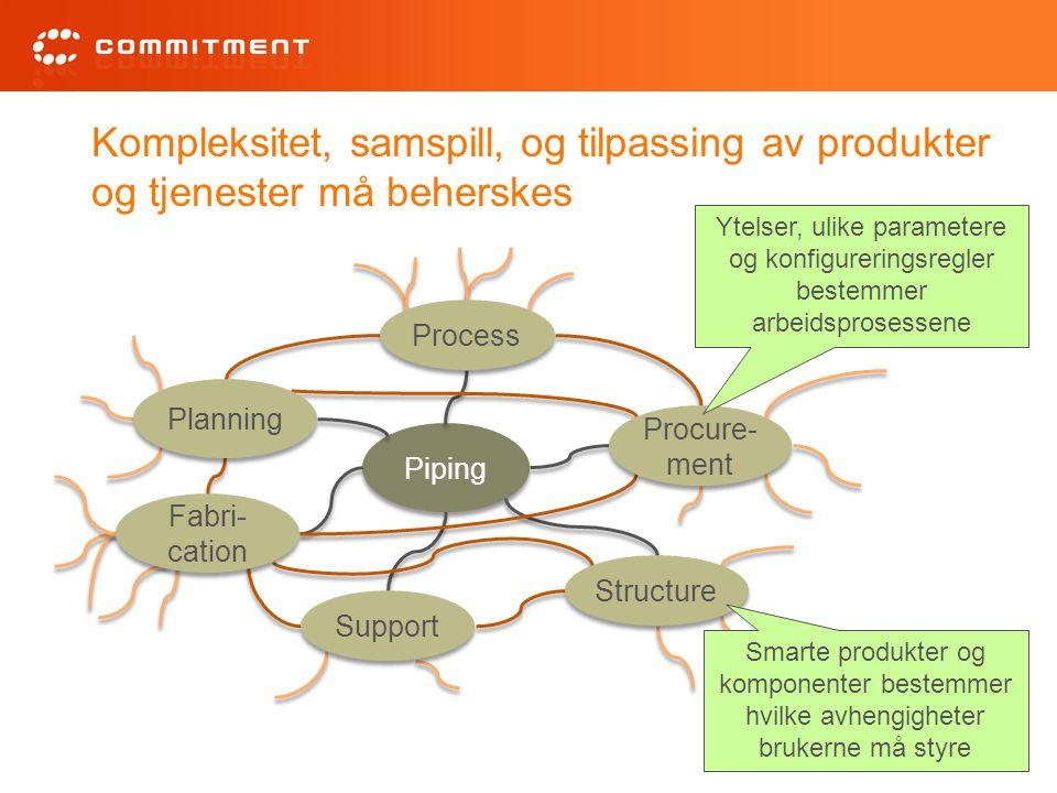 Kompleksitet, samspill, og tilpassing av produkter og tjenester må beherskes Piping Process Support Structure Procure- ment Fabri- cation Planning Yte