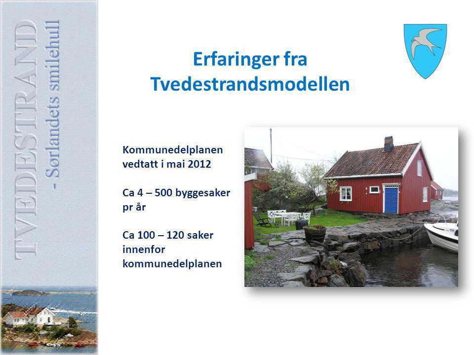 Erfaringer fra Tvedestrandsmodellen Kommunedelplanen vedtatt i mai 2012 Ca 4 – 500 byggesaker pr år Ca 100 – 120 saker innenfor kommunedelplanen