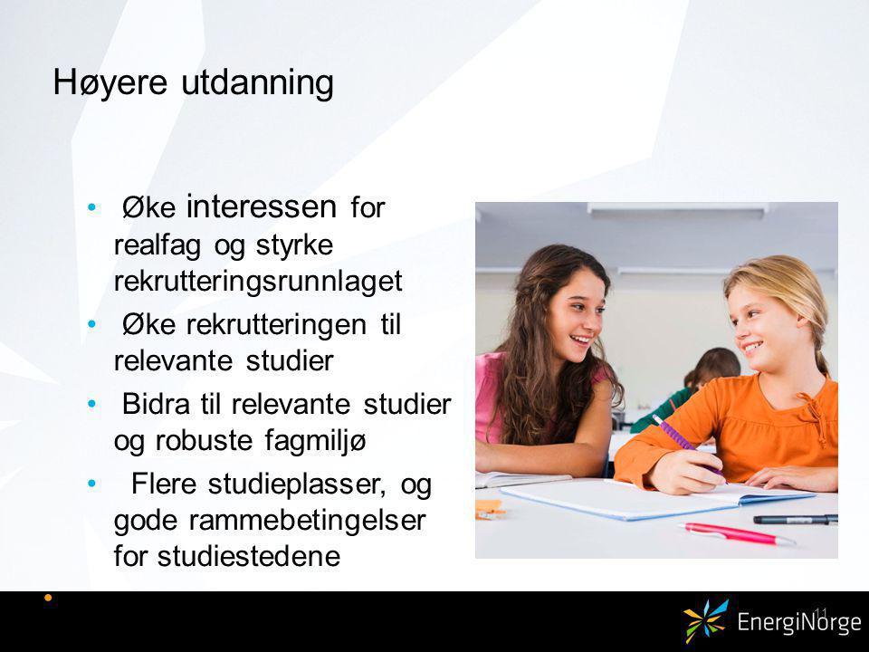 Høyere utdanning Øke interessen for realfag og styrke rekrutteringsrunnlaget Øke rekrutteringen til relevante studier Bidra til relevante studier og robuste fagmiljø Flere studieplasser, og gode rammebetingelser for studiestedene 11