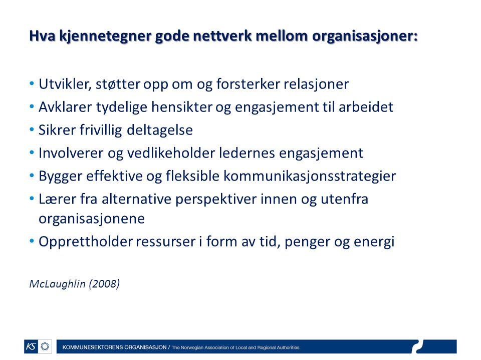 Hva kjennetegner gode nettverk mellom organisasjoner: Utvikler, støtter opp om og forsterker relasjoner Avklarer tydelige hensikter og engasjement til