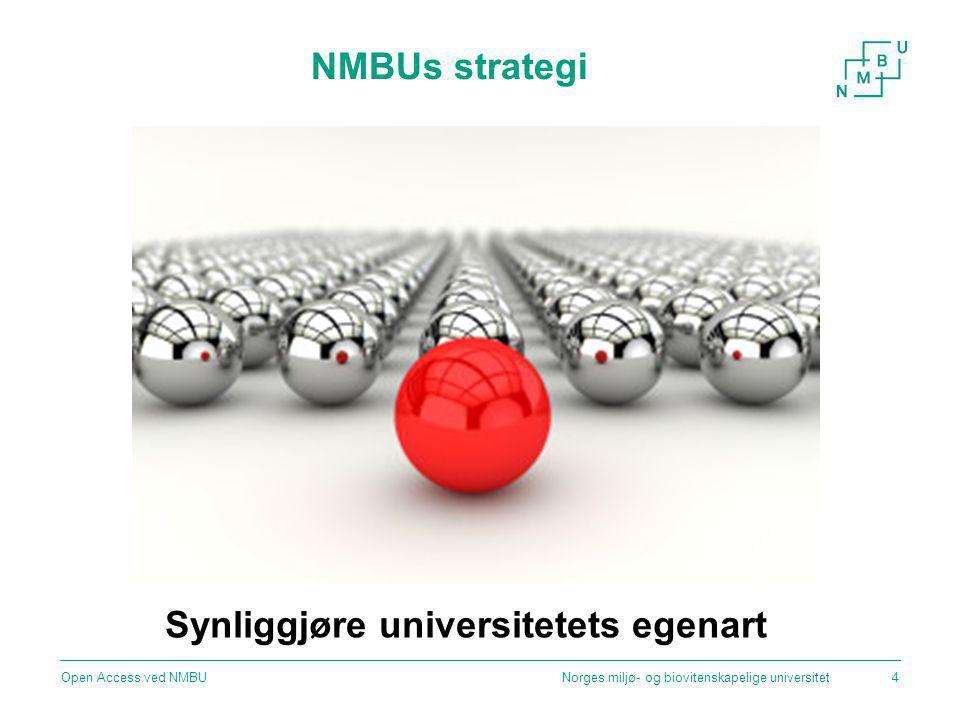 NMBUs strategi Norges miljø- og biovitenskapelige universitetOpen Access ved NMBU4 Synliggjøre universitetets egenart
