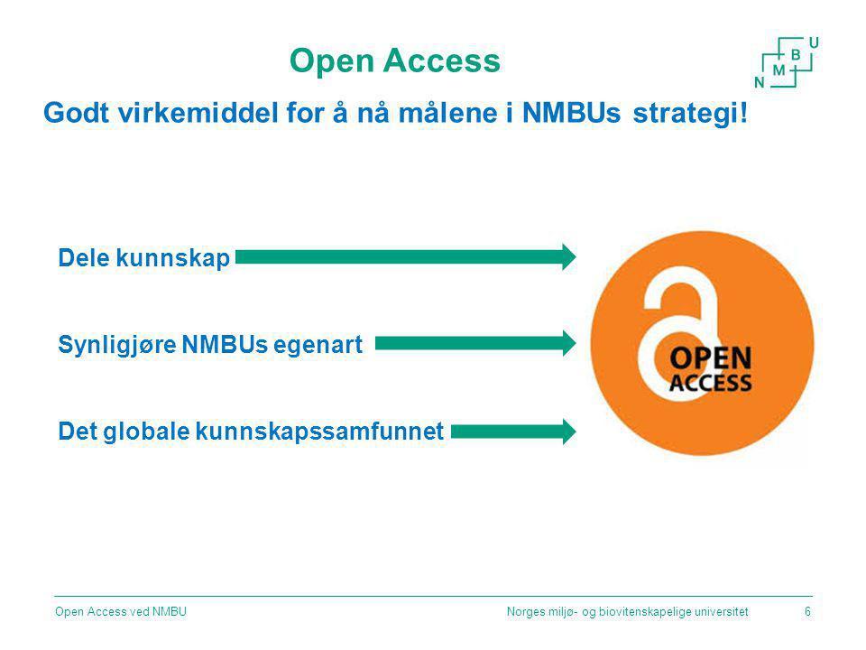 Nasjonal politikk Norges miljø- og biovitenskapelige universitetOpen Access ved NMBU7 Lange linjer – kunnskap gir muligheter Meld.
