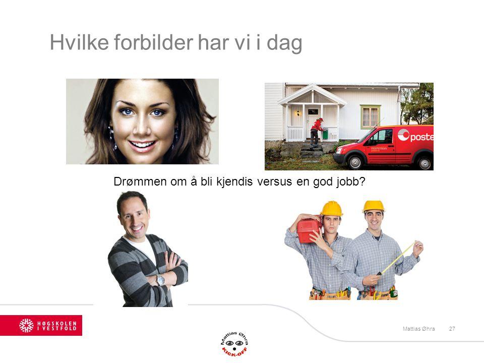 Hvilke forbilder har vi i dag Mattias Øhra27 Drømmen om å bli kjendis versus en god jobb?