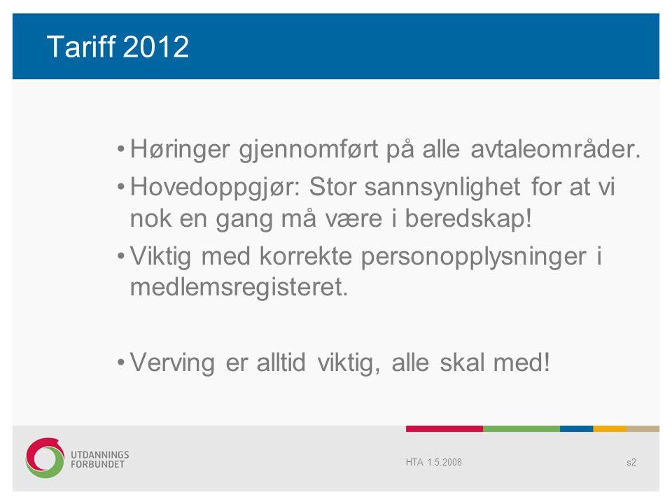 Tariff 2012 Høringer gjennomført på alle avtaleområder.