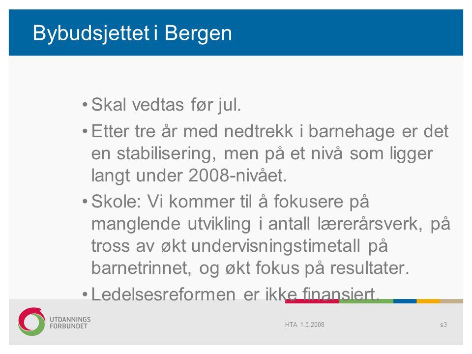Bybudsjettet i Bergen Skal vedtas før jul. Etter tre år med nedtrekk i barnehage er det en stabilisering, men på et nivå som ligger langt under 2008-n