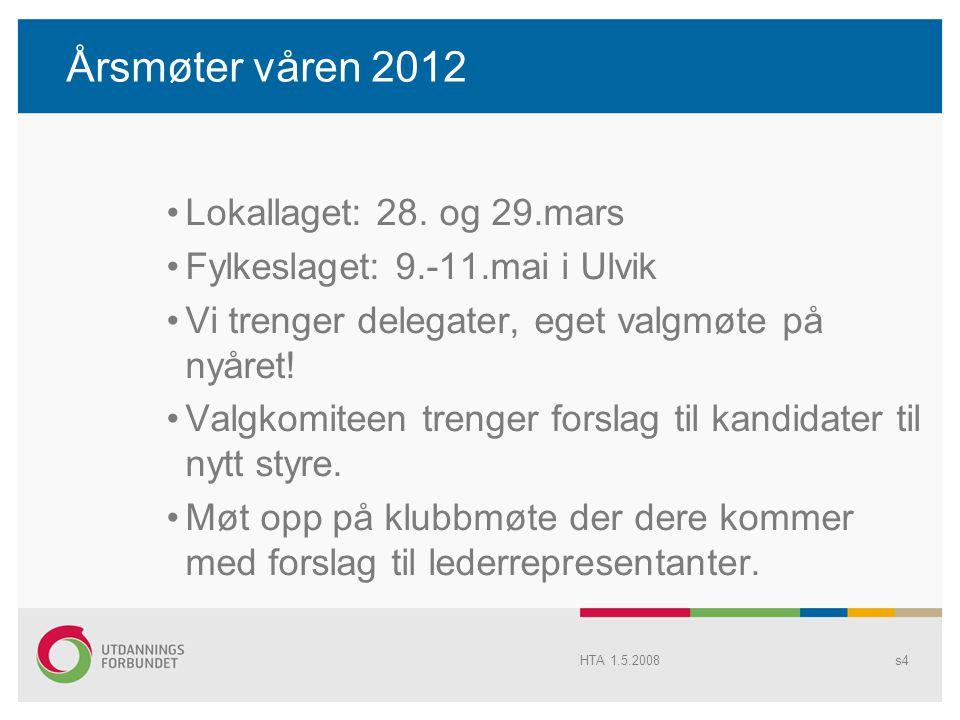 Årsmøter våren 2012 Lokallaget: 28. og 29.mars Fylkeslaget: 9.-11.mai i Ulvik Vi trenger delegater, eget valgmøte på nyåret! Valgkomiteen trenger fors