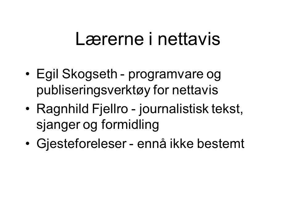 Lærerne i nettavis Egil Skogseth - programvare og publiseringsverktøy for nettavis Ragnhild Fjellro - journalistisk tekst, sjanger og formidling Gjesteforeleser - ennå ikke bestemt