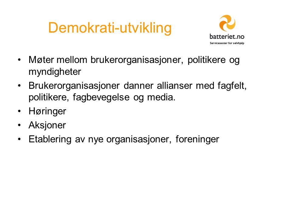 Demokrati-utvikling Møter mellom brukerorganisasjoner, politikere og myndigheter Brukerorganisasjoner danner allianser med fagfelt, politikere, fagbevegelse og media.