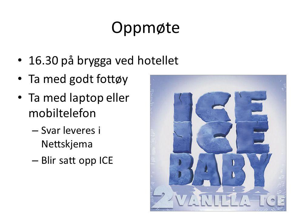 Oppmøte 16.30 på brygga ved hotellet Ta med godt fottøy Ta med laptop eller mobiltelefon – Svar leveres i Nettskjema – Blir satt opp ICE
