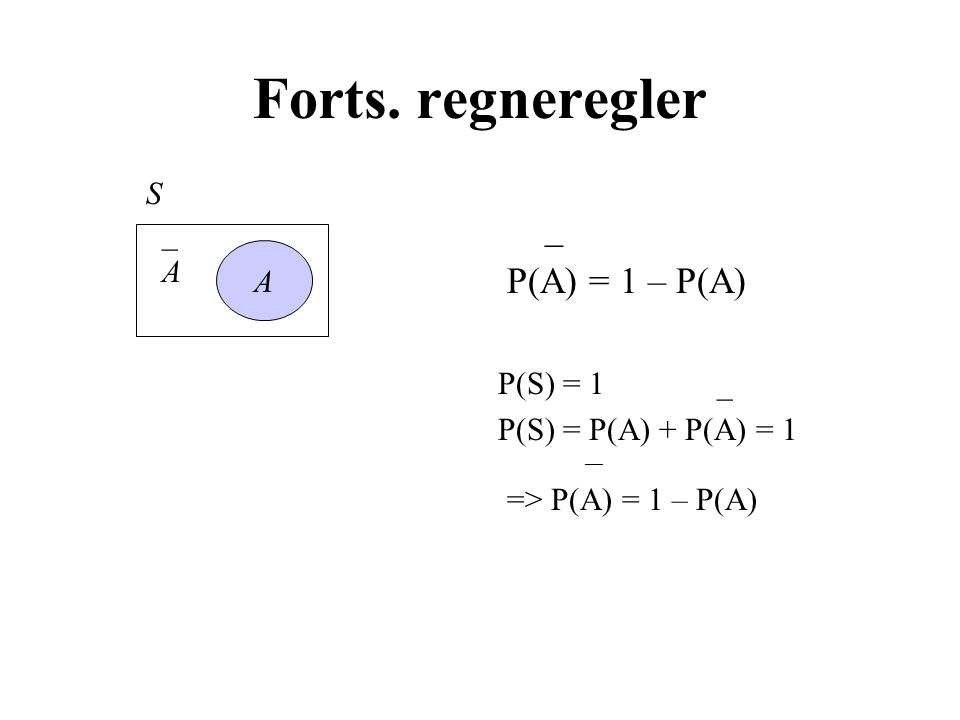 Forts. regneregler _ P(A) = 1 – P(A) P(S) = 1 _ P(S) = P(A) + P(A) = 1 ___ => P(A) = 1 – P(A) A _A_A S