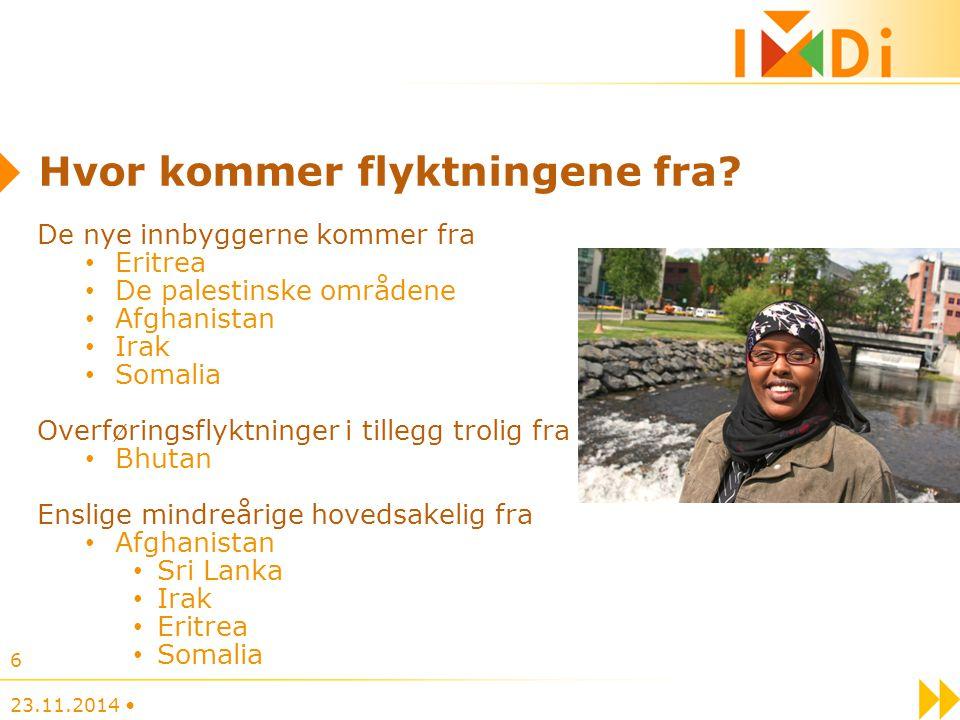 6 Hvor kommer flyktningene fra? De nye innbyggerne kommer fra Eritrea De palestinske områdene Afghanistan Irak Somalia Overføringsflyktninger i tilleg