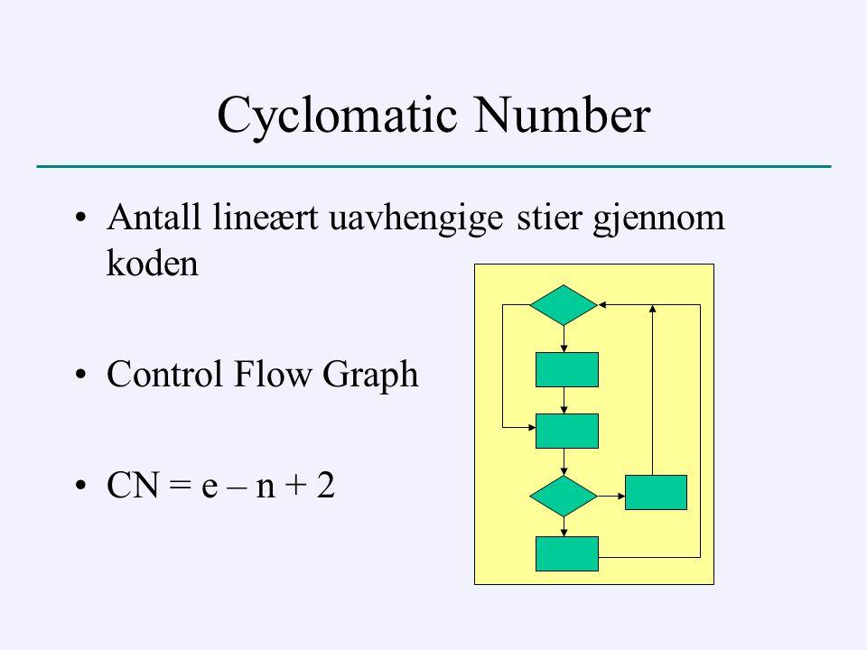 Cyclomatic Number Antall lineært uavhengige stier gjennom koden Control Flow Graph CN = e – n + 2