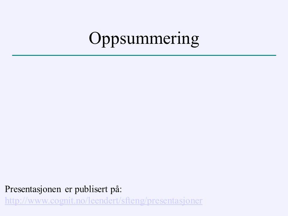 Oppsummering Presentasjonen er publisert på: http://www.cognit.no/leendert/sfteng/presentasjoner http://www.cognit.no/leendert/sfteng/presentasjoner