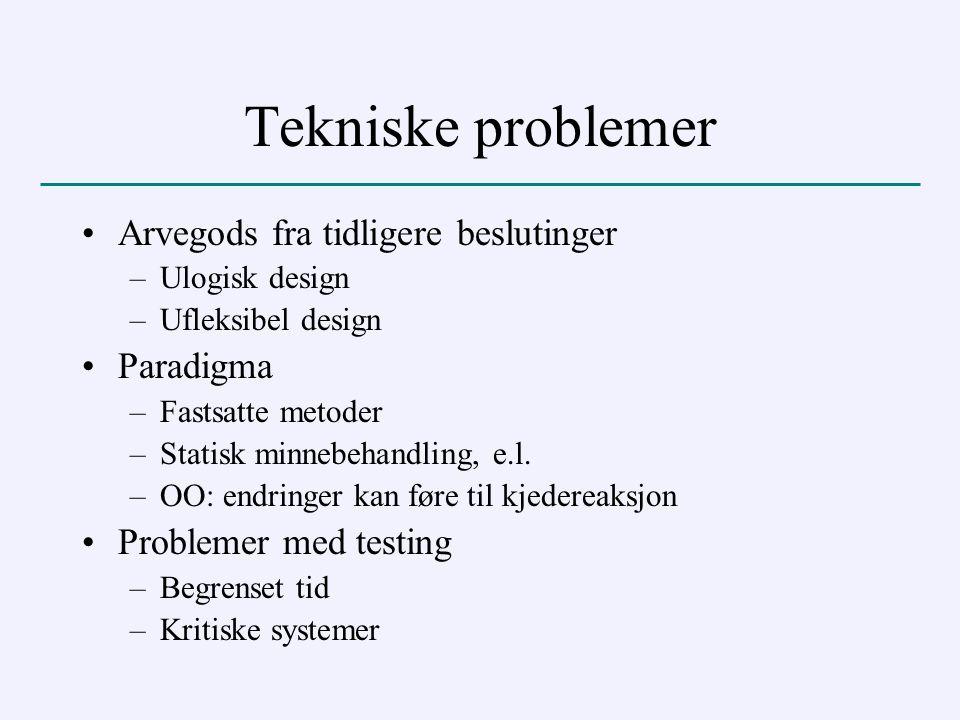 Tekniske problemer Arvegods fra tidligere beslutinger –Ulogisk design –Ufleksibel design Paradigma –Fastsatte metoder –Statisk minnebehandling, e.l.