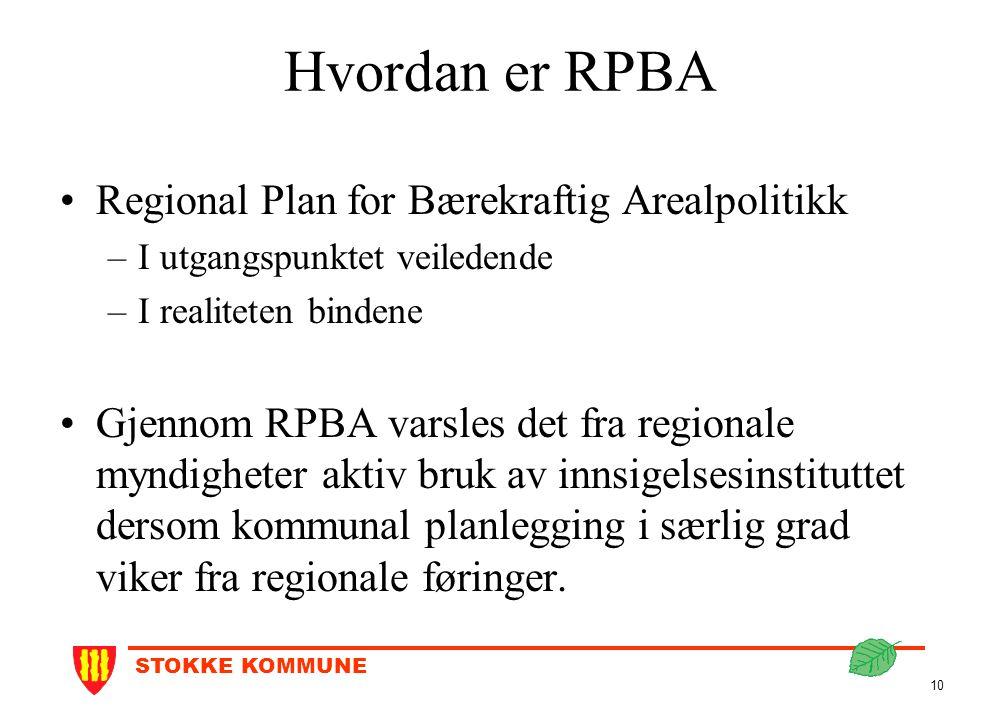 STOKKE KOMMUNE 10 Hvordan er RPBA Regional Plan for Bærekraftig Arealpolitikk –I utgangspunktet veiledende –I realiteten bindene Gjennom RPBA varsles