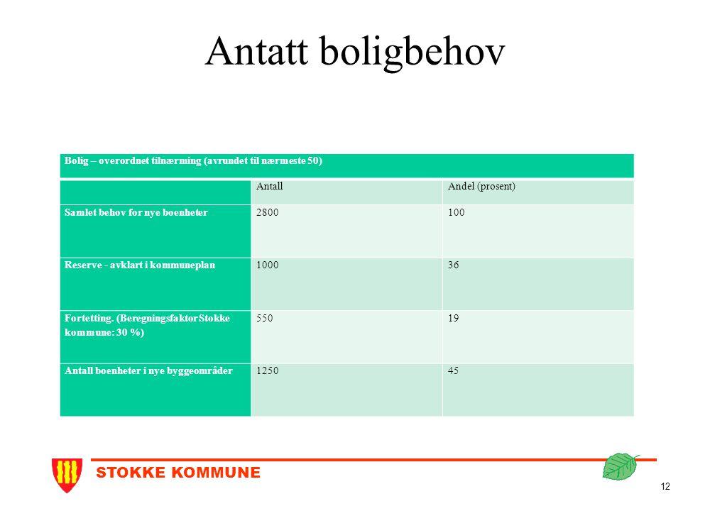 STOKKE KOMMUNE 12 Antatt boligbehov Bolig – overordnet tilnærming (avrundet til nærmeste 50) AntallAndel (prosent) Samlet behov for nye boenheter28001