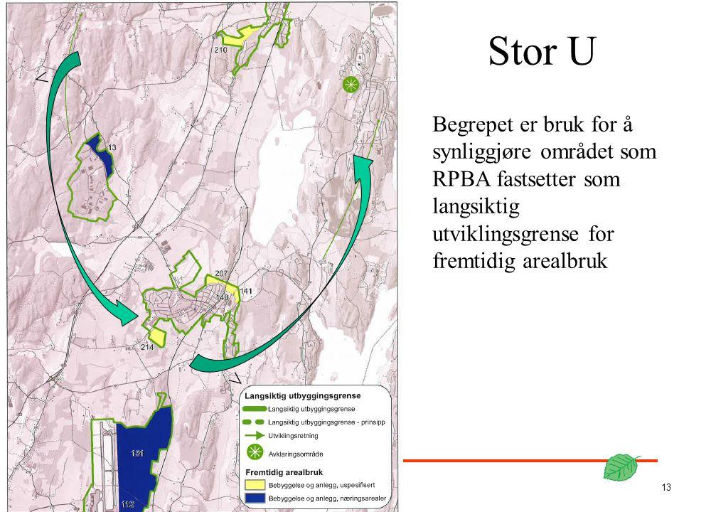 STOKKE KOMMUNE 13 < < Stor U Begrepet er bruk for å synliggjøre området som RPBA fastsetter som langsiktig utviklingsgrense for fremtidig arealbruk