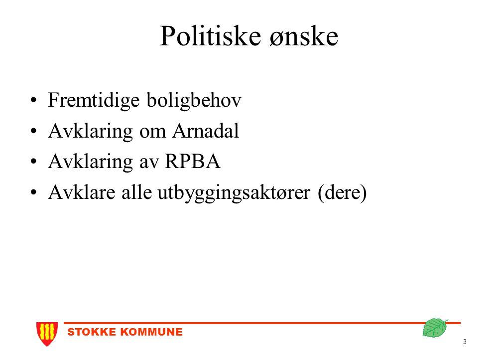 STOKKE KOMMUNE 3 Politiske ønske Fremtidige boligbehov Avklaring om Arnadal Avklaring av RPBA Avklare alle utbyggingsaktører (dere)