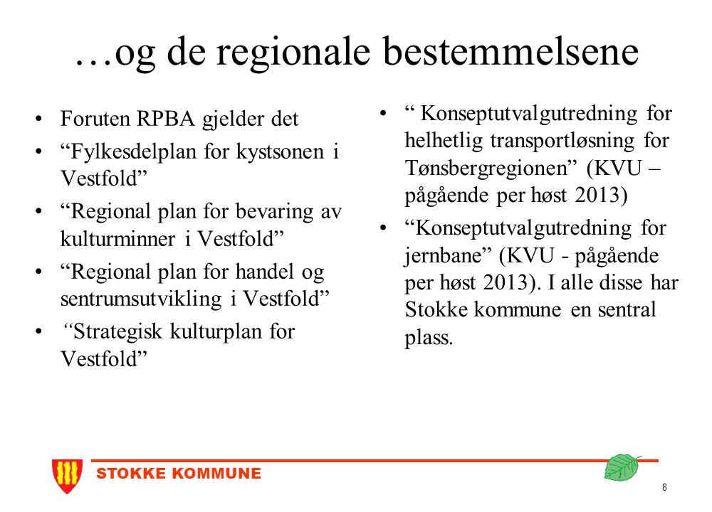 """STOKKE KOMMUNE 8 …og de regionale bestemmelsene Foruten RPBA gjelder det """"Fylkesdelplan for kystsonen i Vestfold"""" """"Regional plan for bevaring av kultu"""