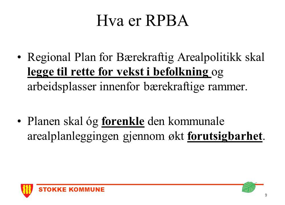 STOKKE KOMMUNE 9 Hva er RPBA Regional Plan for Bærekraftig Arealpolitikk skal legge til rette for vekst i befolkning og arbeidsplasser innenfor bærekr