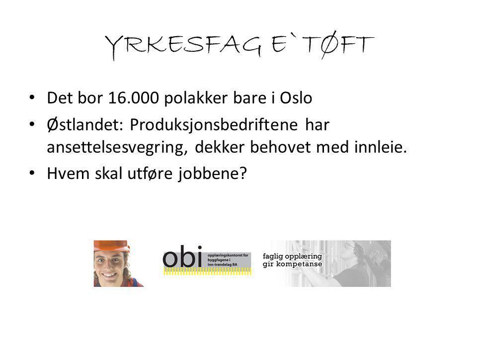 YRKESFAG E`TØFT Det bor 16.000 polakker bare i Oslo Østlandet: Produksjonsbedriftene har ansettelsesvegring, dekker behovet med innleie.