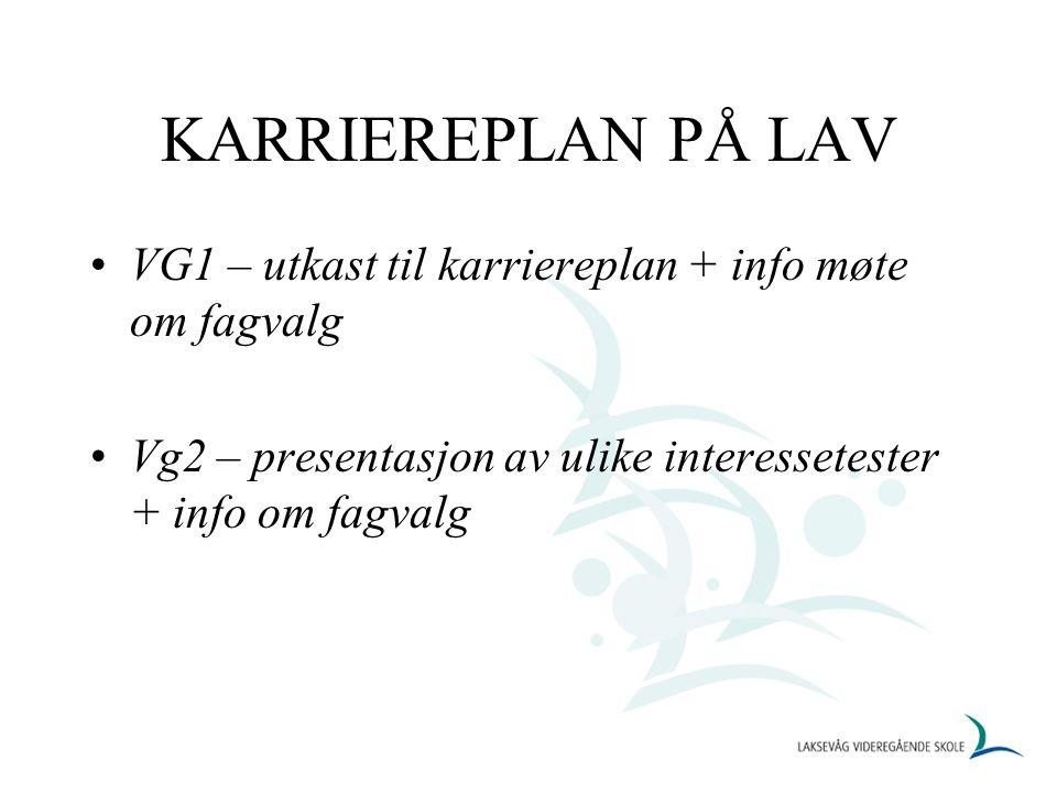 KARRIEREPLAN PÅ LAV VG1 – utkast til karriereplan + info møte om fagvalg Vg2 – presentasjon av ulike interessetester + info om fagvalg