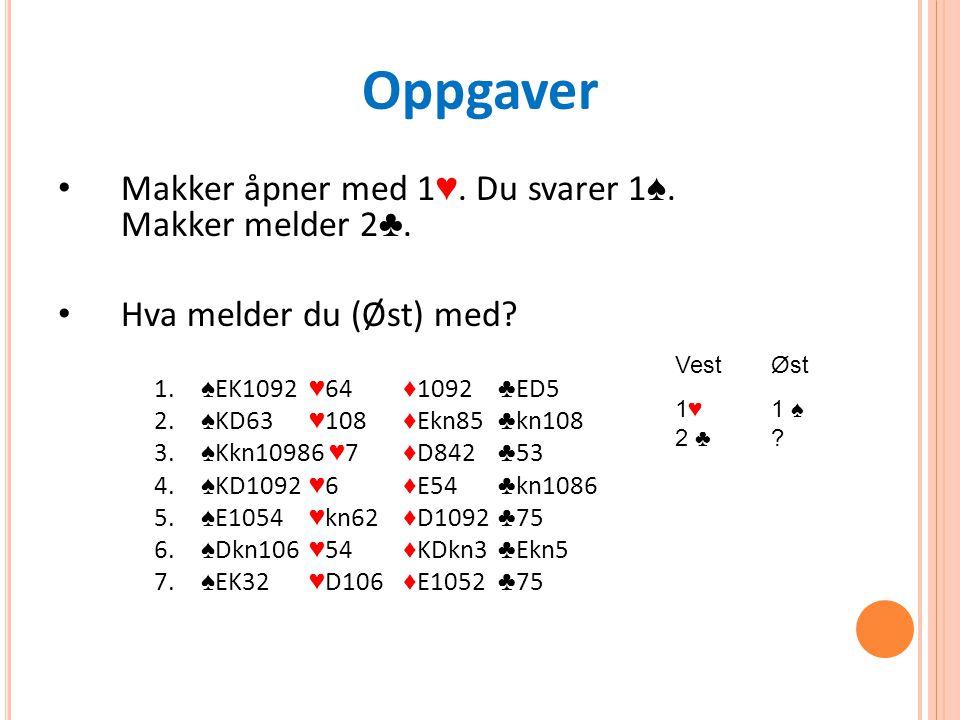 Oppgaver Makker åpner med 1 ♥. Du svarer 1 ♠. Makker melder 2 ♣.