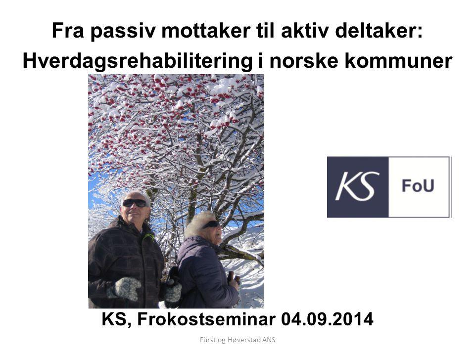Fürst og Høverstad ANS Formål/mandat Aggregere kunnskap fra ulike modeller for å kunne vurdere forutsetninger og elementer som må være tilstede for å få hverdagsrehabilitering til å fungere best mulig.
