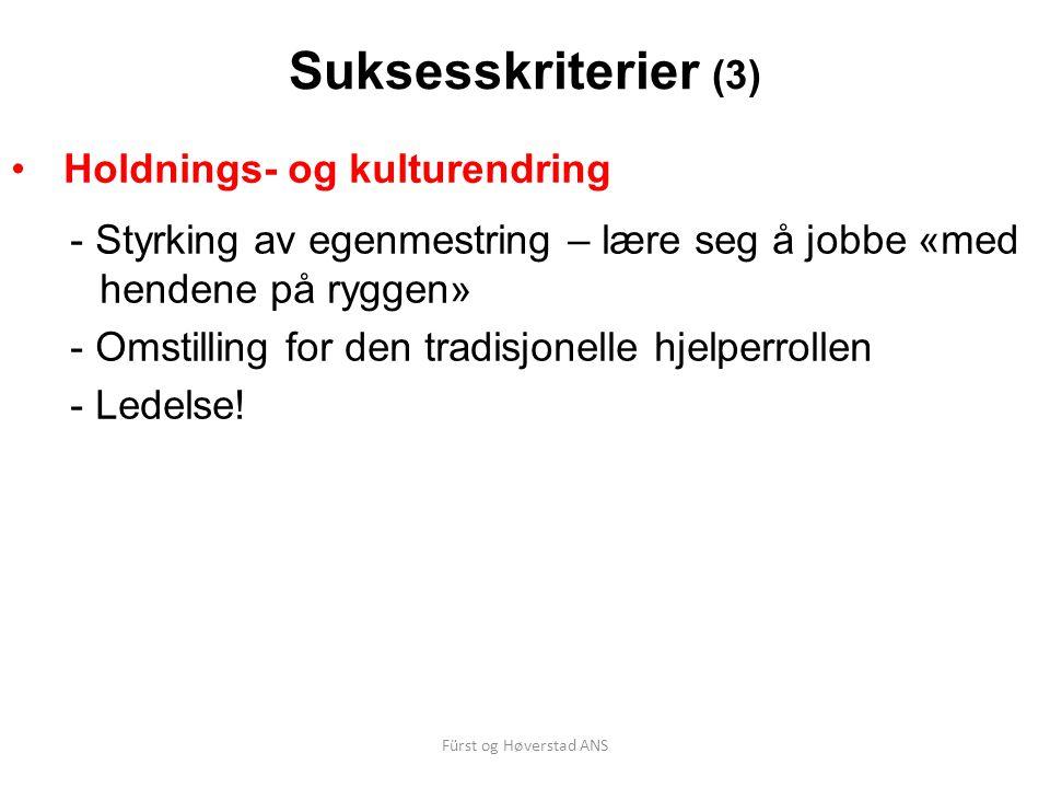 Fürst og Høverstad ANS Suksesskriterier (3) Holdnings- og kulturendring - Styrking av egenmestring – lære seg å jobbe «med hendene på ryggen» - Omstil