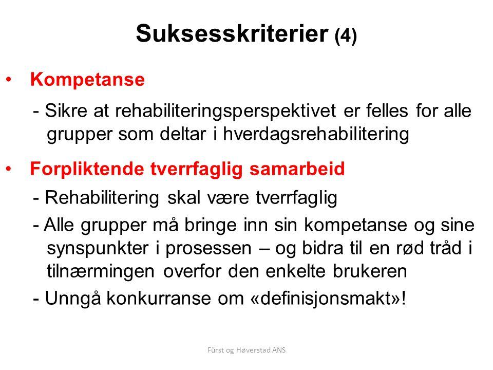 Fürst og Høverstad ANS Suksesskriterier (4) Kompetanse - Sikre at rehabiliteringsperspektivet er felles for alle grupper som deltar i hverdagsrehabili