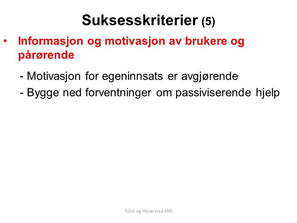 Fürst og Høverstad ANS Suksesskriterier (5) Informasjon og motivasjon av brukere og pårørende - Motivasjon for egeninnsats er avgjørende - Bygge ned f
