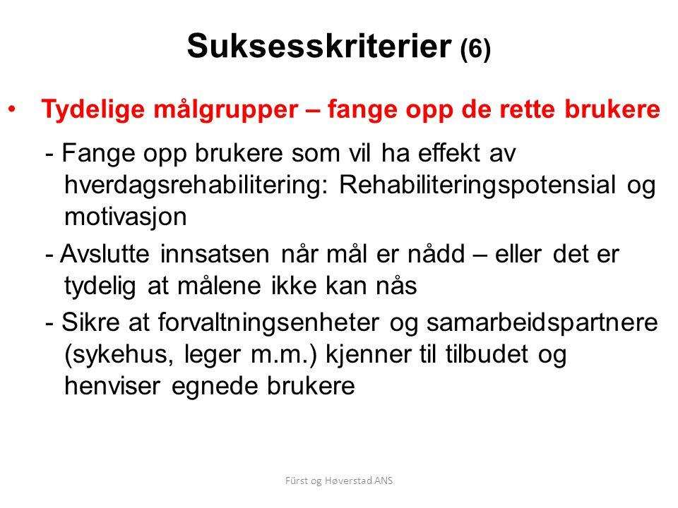Fürst og Høverstad ANS Suksesskriterier (6) Tydelige målgrupper – fange opp de rette brukere - Fange opp brukere som vil ha effekt av hverdagsrehabili