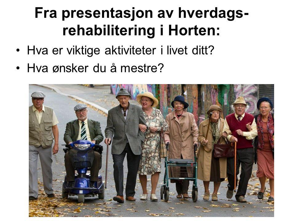 Fra presentasjon av hverdags- rehabilitering i Horten: Hva er viktige aktiviteter i livet ditt? Hva ønsker du å mestre?