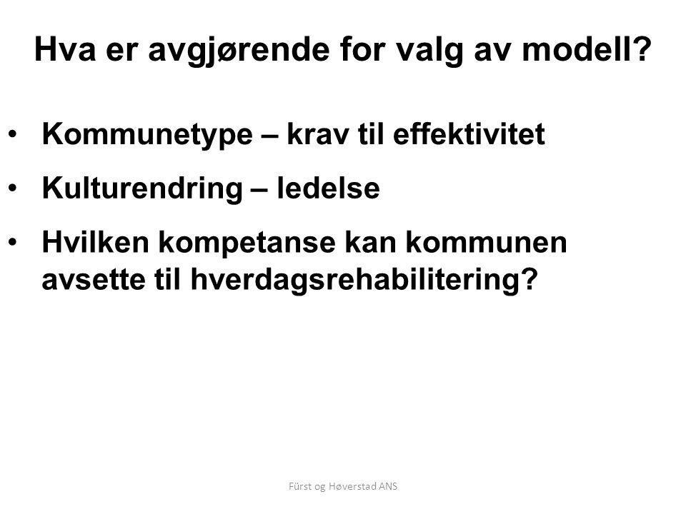 Fürst og Høverstad ANS Hva er avgjørende for valg av modell? Kommunetype – krav til effektivitet Kulturendring – ledelse Hvilken kompetanse kan kommun