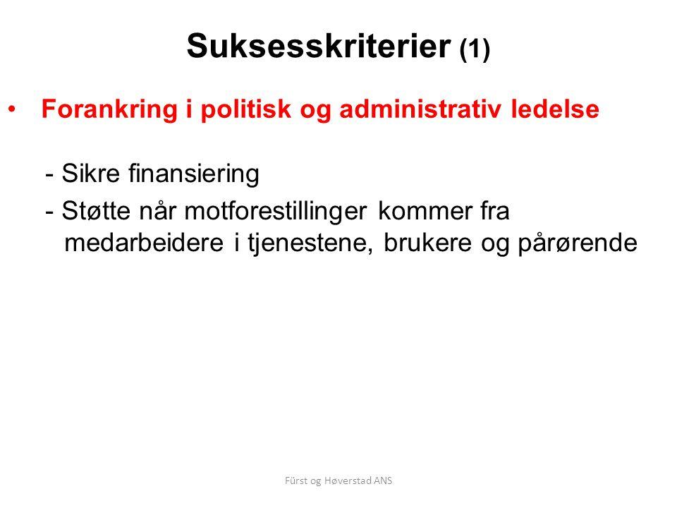 Fürst og Høverstad ANS Suksesskriterier (1) Forankring i politisk og administrativ ledelse - Sikre finansiering - Støtte når motforestillinger kommer