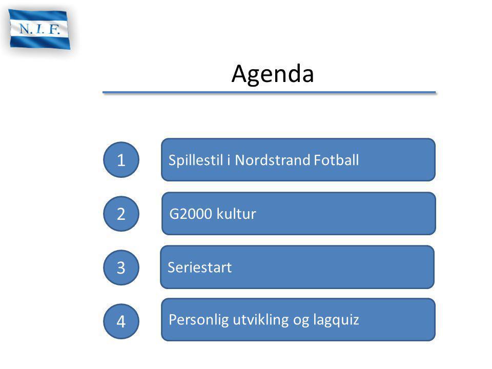 Agenda 1 2 3 4 Spillestil i Nordstrand Fotball Personlig utvikling og lagquiz G2000 kultur Seriestart